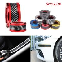 5CM*1M Car Sticker Carbon Fiber Rubber Door Sill Protector Edge Soft Guard Strip