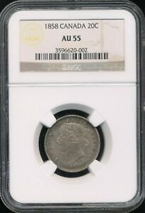 1858 Canada Silver 20 Cents 20c NGC AU 55 *Some Underlying Mint Luster Visible!*
