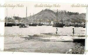 HONGKONG POSTCARD SIZE PHOTO FISHING PORT HONG KONG VINTAGE 1940S