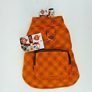 Orange Plaid Winter Dog Jacket Coat XS Fleece Lined with Zippered Pocket