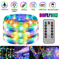 33Ft/10M Waterproof LED Rope Strip Light Multi-color Outdoor Changing w/ Remote
