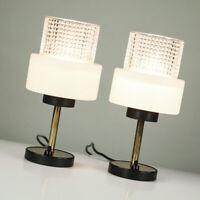Tisch Lampen Paar Messing & Glas Lese Leuchten Vintage Night Stand Lamps 60er