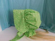 LADIES PRAIRIE  BONNET HAT civil war gardening blushing lime green floral #1101