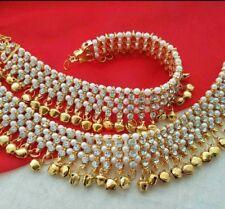 Bollywood Necklace Bridal Party Diwali 2pcs Broad Anklet Payal Gold Kundan