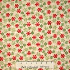 Christmas Fabric - Peppermint Santa Red & Green Snowflake - Wilmington YARD