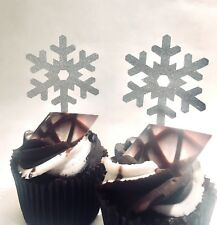 12 GLITTER CHRISTMAS SNOW FLAKE CUPCAKE TOPPERS PICKS WHITE SILVER PARTY
