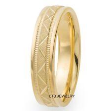 MENS WOMENS 10K YELLOW GOLD STONE FINISH MILGRAIN 5MM WEDDING BANDS RINGS