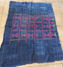 Vintage Dogon,Mali Wedding Indigo/Dyed Strips, Embroidered Abstract Design/42x60
