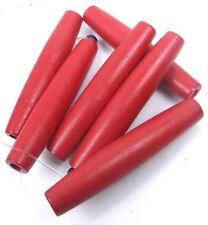 "65x12mm Christmas Red Long Barrel Wood Beads 15.5"""