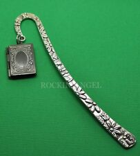 Antique Silver & Gunmetal Photo Book Frame Locket Bookmark,  Ladies Girls Gift