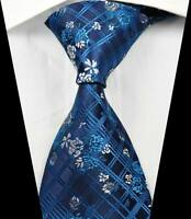 New Classic Florals Checks Blue White JACQUARD WOVEN 100% Silk Men's Tie Necktie