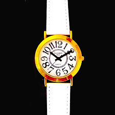 Scottsdale Polo Easy Read Large Dial Watch, Fossil White Leather Band, Under $45