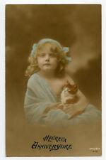 1910s Kittin cats Cute GIRL w/ CAT tinted photo postcard
