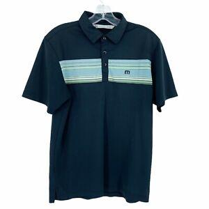 Travis Mathews Men's Size Small Black Striped Short Sleeve Polo Shirt *