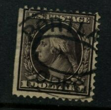 Scott #342 U.S. stamp 1909 Violet Brown Washington $1 Perf 12   Used