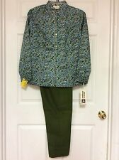 white stag new ladies vintage pants and blouse size 18 and 20 green multi 55
