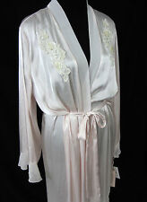 Linea Donatella Long Wrap Robe Lounge Blush Pink Large XL Bridal Pearls Sequins