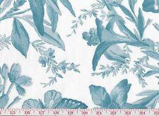 Turquoise Toile Cotton Print Drapery Fabric P Kaufmann Indigo Bunting CL Spa