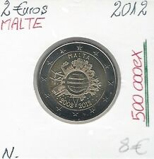 2 Euros - MALTE - 2012 // Qualité: Neuve (10 ans de circulation de l'Euro)