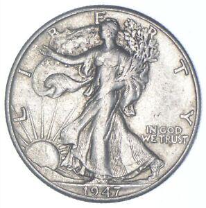 XF+ 1947-D Walking Liberty 90% Silver US Half Dollar - NICE COIN *206