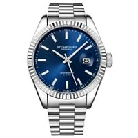 Stuhrling 3935 2 Symphony Quartz Date Blue Dial Stainless Steel Mens Watch