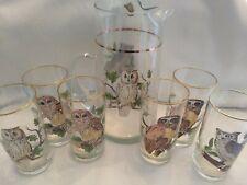 Vintage West Virginia Glass Owl Pitcher 6 Drinking Glasses Barware Serving Set