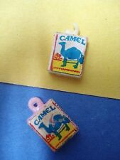 Vtg 70s 80s CAMEL Cigarette 1/6 Scale CHARMS 4 Bracelet x2 PVC HARD PLASTIC