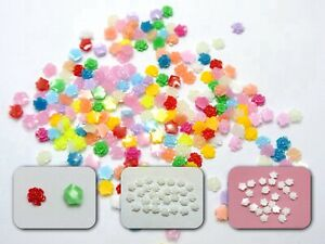 500 Ivory Mixed Color Flatback Resin Floral Mini Flower Cabochons 5mm DIY Craft