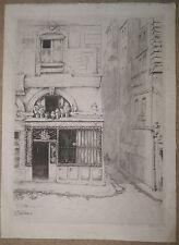 Belle GRAVURE Ancienne ERNEST LABORDE Paysage Magasin Bateau Fleurs 1912 #5