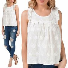NEW LADIES FLORAL EMBROIDERY FRILL SHOULDERS TOP WOMENS WHITE GYPSY SUMMER VEST