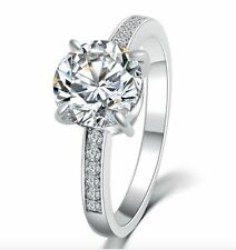 Cubic Zirconia Silver Plated Solitaire Round Costume Rings