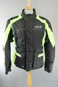 DOJO BLACK & GREEN TEXTILE BIKER JACKET WITH REMOVABLE CE ARMOUR SMALL/40 INCH