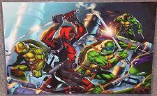 TMNT vs Deadpool Glossy Art Print 11 x 17 In Hard Plastic Sleeve