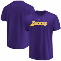 Los Angeles Lakers Mens Purple Majestic Team Name Primary Logo T Shirt