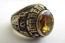 Zale's 10K Gold Citrine Enamel Herbert Hoover High Ring 18.1 Grams Sz 11.5 1974
