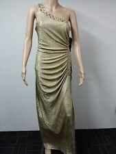 NEW - Betsy & Adam - Beaded Formal Evening Dress - Size 10 - Metal Gold - $219