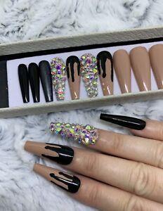 Nude Black Melt Diamante False Fake Extra Long Ballerina Nails Set