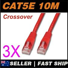 3x 10m Cat5E Crossover Red  Ethernet Network LAN Patch Cable Lead