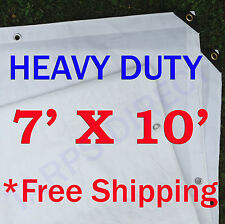 7' x 10' Heavy Duty White Tarp - 6 OZ.
