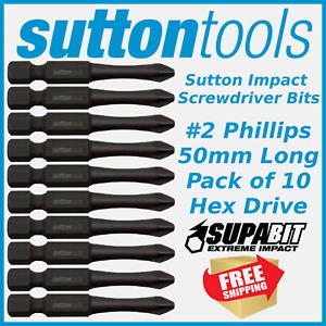 Sutton Impact Phillips Head Ph2 X 50mm Power Insert Bits For Impact Drivers PK10