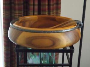 Nambe Wood Salad Bowl & Servers Anvil