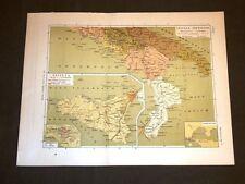 Carta cartina estratta da Atlante del 1890 Sicilia antica Agrigento Tarentum