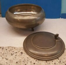 C. K. Holland Pewter Metal Bowl Lidded AND Footed with Vintage Makers Mark