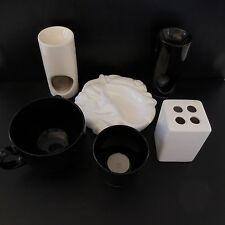 6 pièces céramique faïence porcelaine verre art-déco contemporain noir & blanc