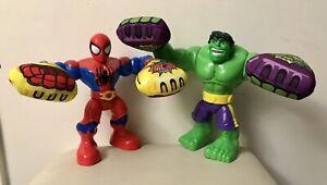 "Boxing Glove Spiderman & Incredible Hulk Kapow 10"" Talking 2013 Marvel Superhero"