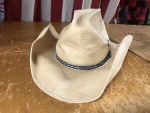Vtg Resistol Distressed Tan Straw Shantung Panama Wire-Brim COWBOY HAT 7 blue