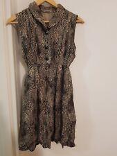 Vintage silk beige black animal print dress 8 10 12