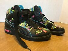 Womens Size 8.5 Puma Black High Tops Fashion Sneakers Canvas Swirl Pink Blue