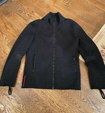 PRADA Mens Quilted Slick Black Jacket size-Small