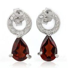 Ohrringe/Ohrstecker Tessa, 925er Silber, 1,63 Kt. echter Granat/Diamant